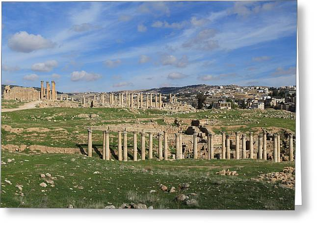 Gcc Greeting Cards - Ancient City of Jerash Greeting Card by Ash Sharesomephotos
