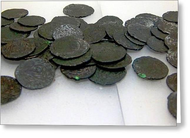 Slaves Greeting Cards - Ancient Coins Greeting Card by Teresa Ruiz