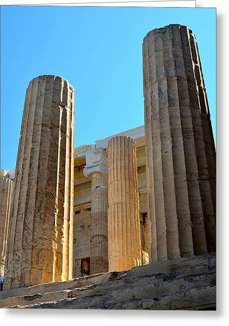 Ancient Columns Greeting Card by Corinne Rhode