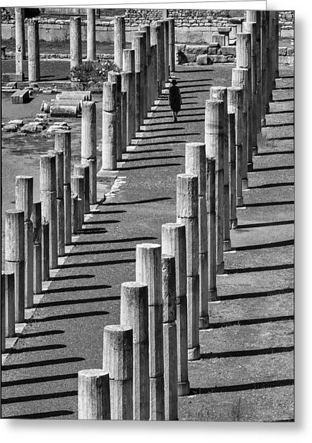 Messenia Greeting Cards - Ancient columns of Messene Greeting Card by Peter Eastland