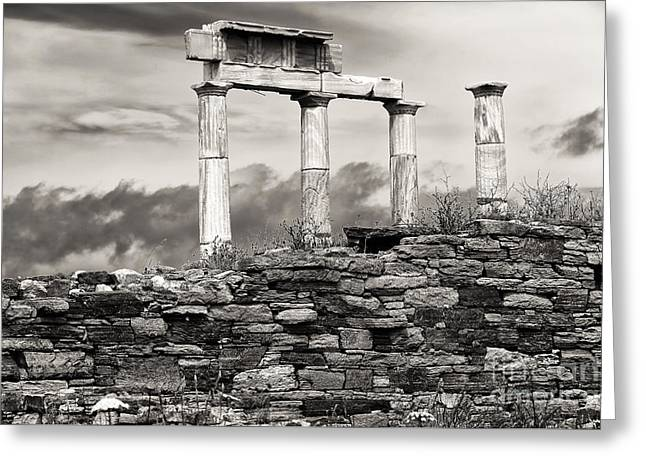 Delos Greeting Cards - Ancient Columns on Delos Island Greeting Card by John Rizzuto