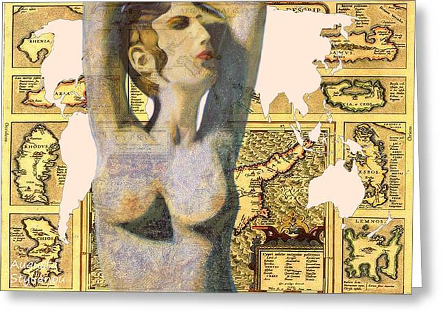 Old Map Digital Art Greeting Cards - Ancient Cyprus Aphrodite and World Map  Greeting Card by Augusta Stylianou