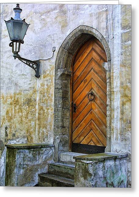 Stepping Stones Greeting Cards - Ancient Door in Estonia Greeting Card by Linda Phelps