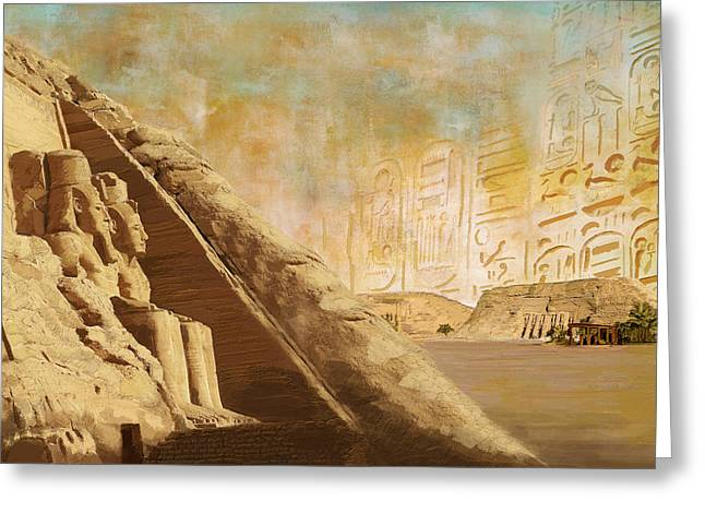 Pyramid Paintings Greeting Cards - Ancient Egypt Civilization 05 Greeting Card by Catf