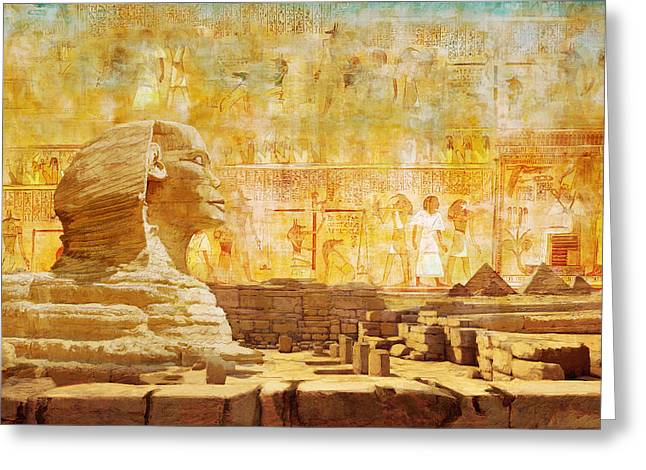 Pyramid Paintings Greeting Cards - Ancient Egypt Civilization 08 Greeting Card by Catf