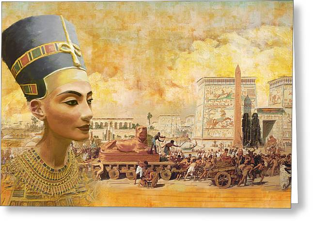 Pyramid Paintings Greeting Cards - Ancient Egypt Civilization 09 Greeting Card by Catf