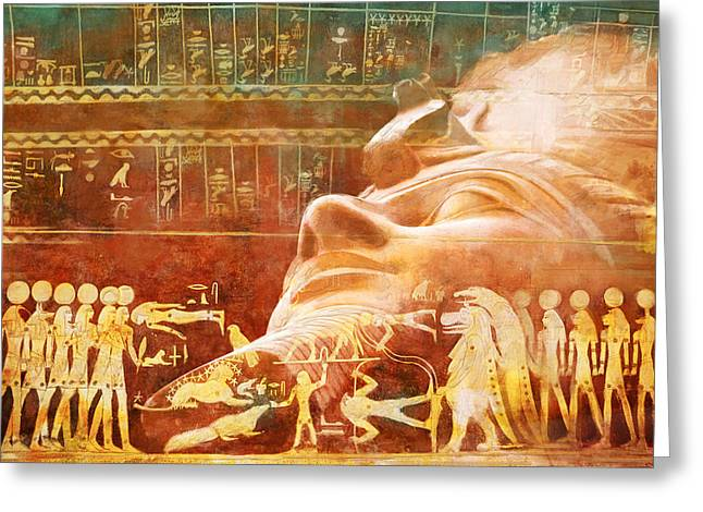 Pyramid Paintings Greeting Cards - Ancient Egypt Civilization Detail 00 Greeting Card by Catf