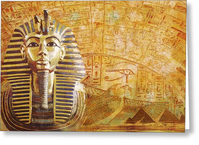 Pyramid Paintings Greeting Cards - Ancient Egypt Civilization Detail 02 Greeting Card by Catf