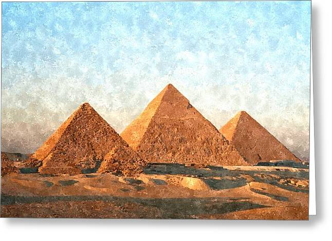 Pyramid Paintings Greeting Cards - Ancient Egypt the Pyramids at Giza Greeting Card by Gianfranco Weiss