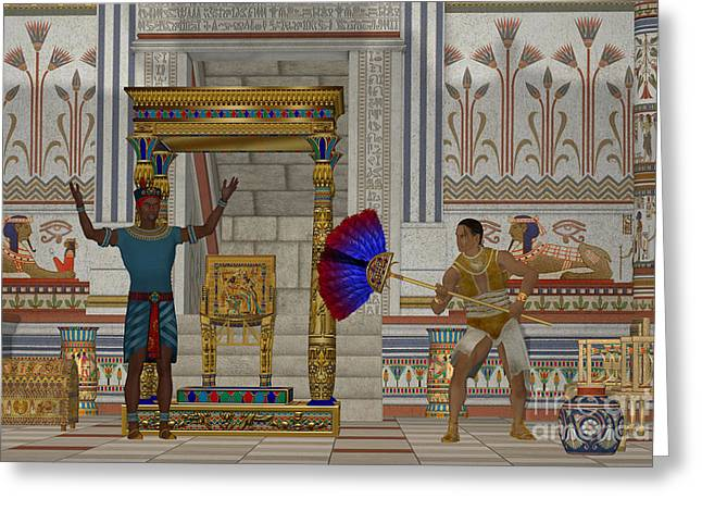Pharaoh Digital Greeting Cards - Ancient Egyptian Men Greeting Card by Corey Ford