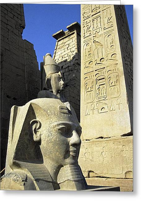 Red Granite Greeting Cards - Ancient Egyptian monuments at Luxor Greeting Card by Science Photo Library