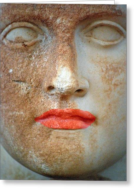 Bust Sculptures Greeting Cards - Ancient Face Greeting Card by Marty Henne