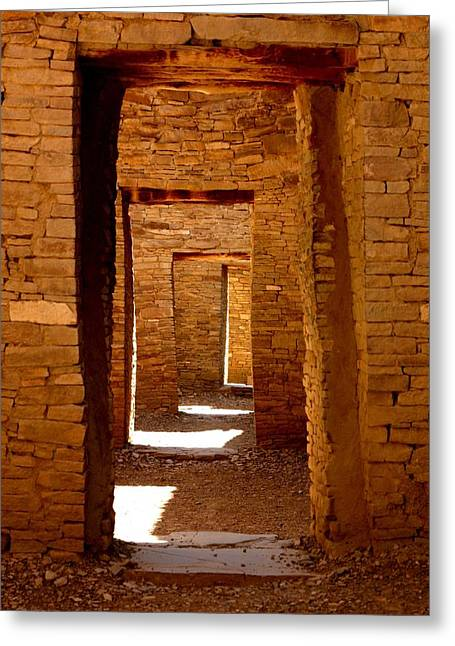 Chaco Canyon Greeting Cards - Ancient Galleries Greeting Card by Joe Kozlowski