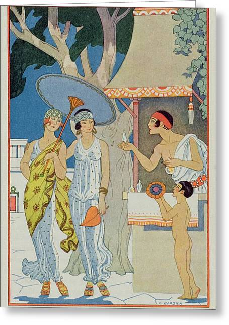Dress Patterns Greeting Cards - Ancient Greece Greeting Card by Georges Barbier