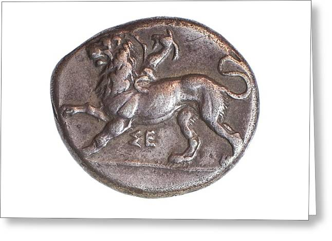 Ancient Greek Coin 430-390 Bce Greeting Card by Science Photo Library