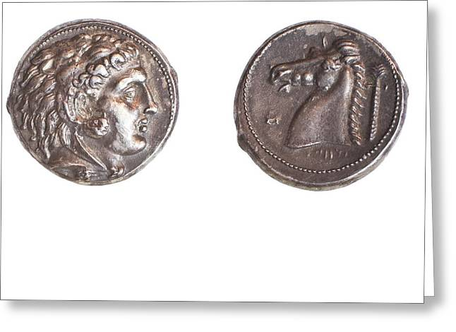 Ancient Greek Coin Carthage Greeting Card by Science Photo Library