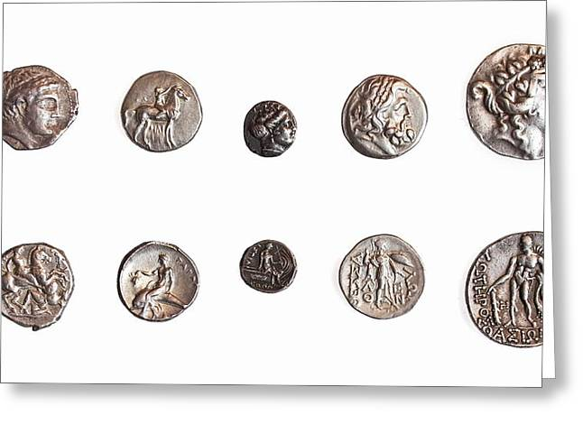 Ancient Greek Coins 1st - 3rd Century Greeting Card by Science Photo Library