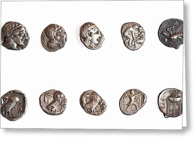 4th Greeting Cards - Ancient Greek coins 3rd -4th century BCE Greeting Card by Science Photo Library