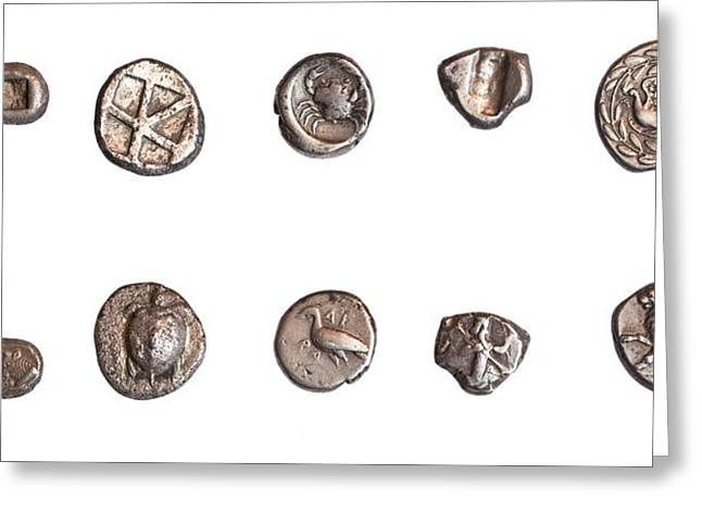 Ancient Greek Coins 3rd - 5th Century Greeting Card by Science Photo Library