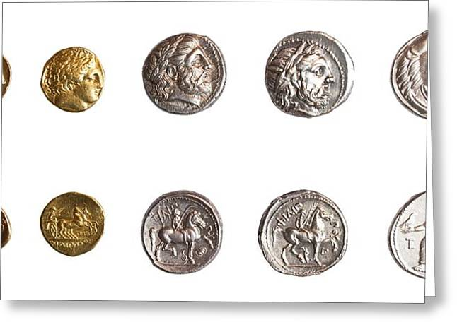 Ancient Greek Coins 3rd Century Bce. Greeting Card by Science Photo Library