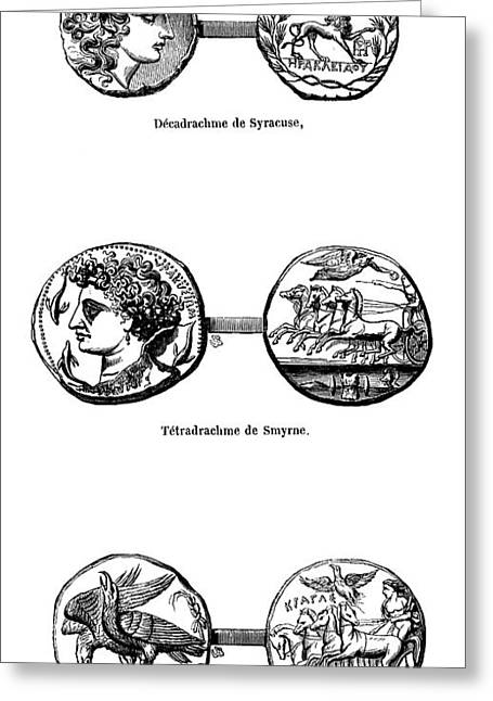Ancient Greek Coins Greeting Card by Science Photo Library