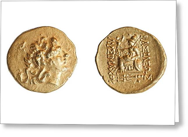 Ancient Greek Gold Coin Greeting Card by Science Photo Library