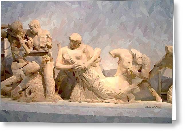 Greek Sculpture Digital Art Greeting Cards - Ancient Greek Sculpture Greeting Card by Milton Kessler