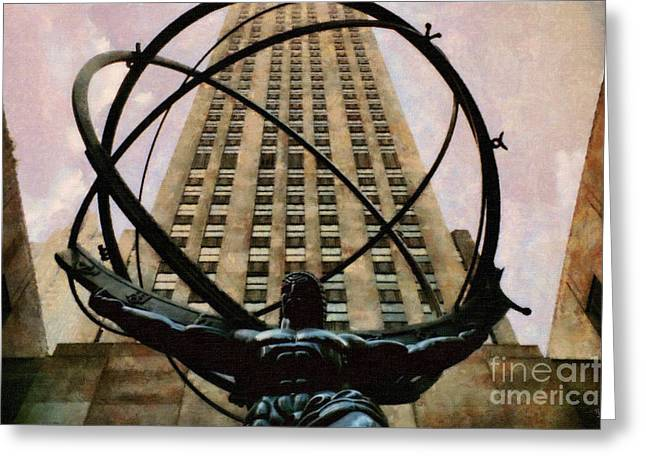 Times Square Digital Art Greeting Cards - Ancient Greek Titan Atlas holding the heavens Greeting Card by Nishanth Gopinathan