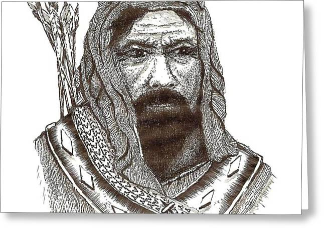 Ancient Hunter a Pen and Ink Drawing Greeting Card by Mario  Perez