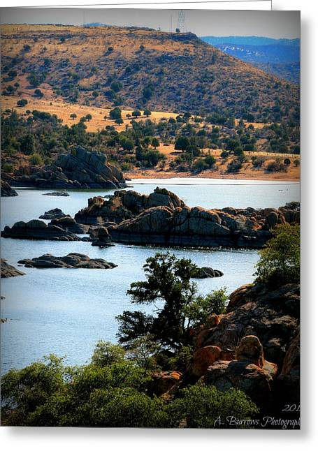 Watson Lake Greeting Cards - Ancient Lava Flow Hills Over the Lake Greeting Card by Aaron Burrows