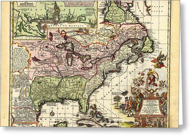 Ancient Map Of Luisianne Greeting Card by Celestial Images
