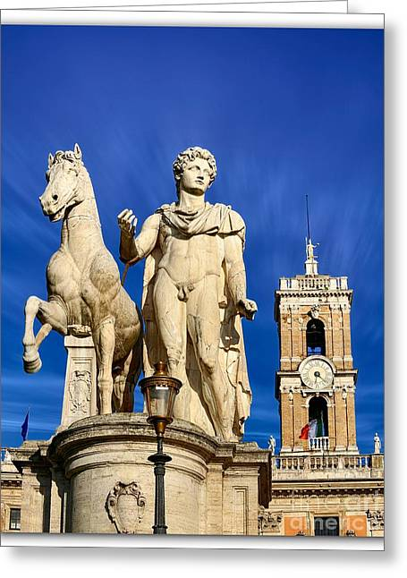 Michelangelo Greeting Cards - Ancient marble sculpture of Castor at the Cordonata Stairs  Greeting Card by Stefano Senise