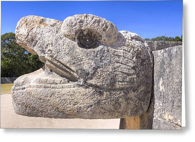 Ancient Ruins Greeting Cards - Ancient Mayan Serpent at Chichen Itza Greeting Card by Mark Tisdale