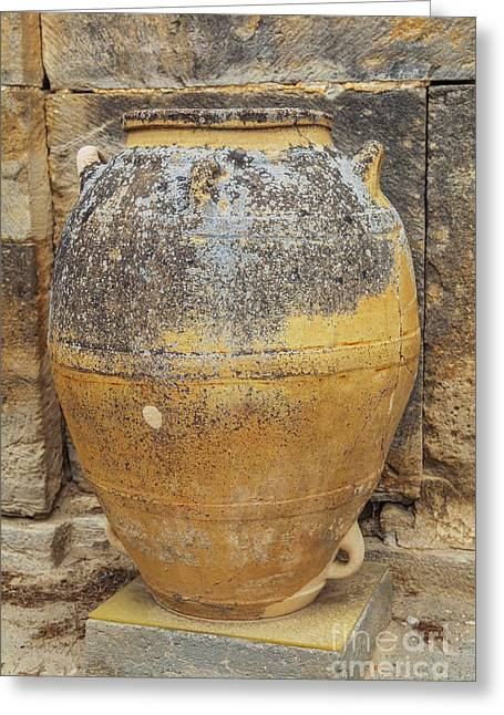 Vinegar Greeting Cards - Ancient Minoan big pots from about  2000 BC Greeting Card by Patricia Hofmeester