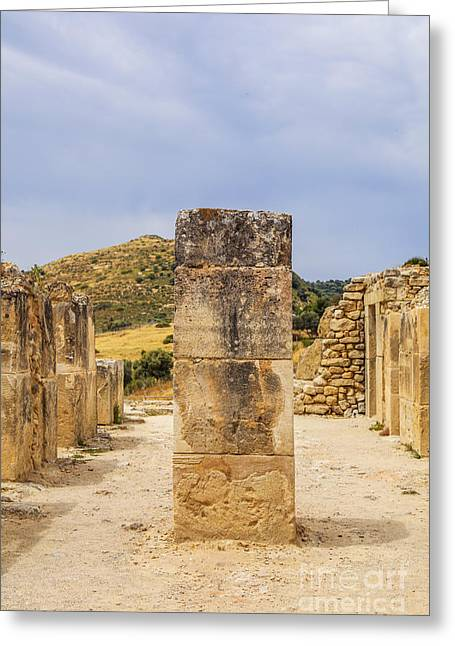 Ancient Greek Ruins Greeting Cards - Ancient Minoan column Greeting Card by Patricia Hofmeester