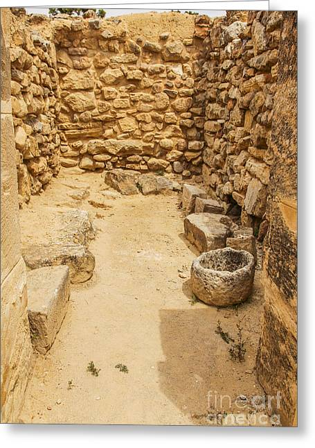 Ancient Greek Ruins Greeting Cards - Ancient  Minoan store  Greeting Card by Patricia Hofmeester