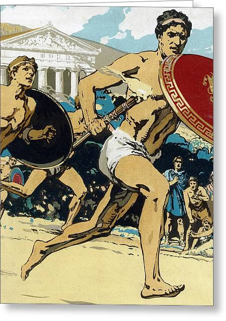 Dash Greeting Cards - Ancient Olympic Games  The relay race Greeting Card by Unknown
