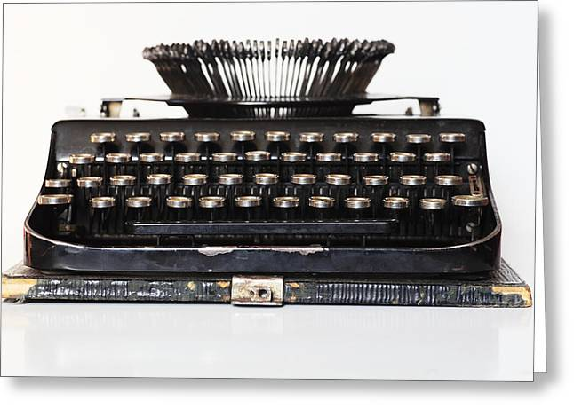 Texting Greeting Cards - Ancient Portable Typewriter Greeting Card by Mikhail Olykaynen