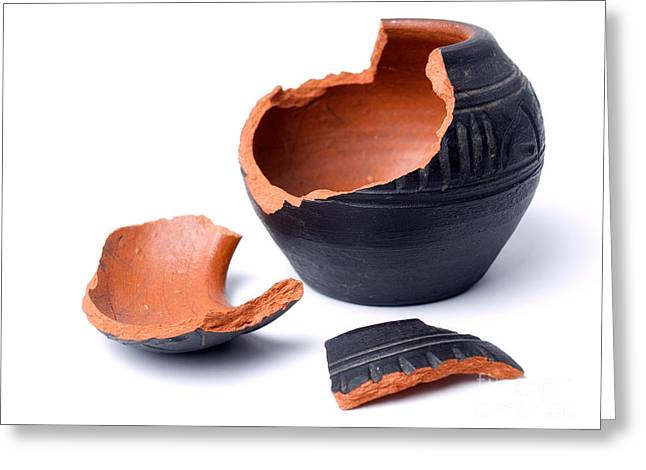 Broken Vase Greeting Cards - Ancient pot Greeting Card by Sinisa Botas
