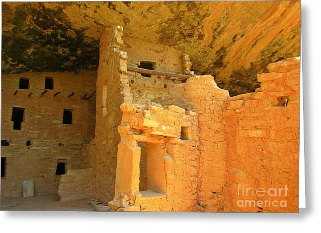 Wooden Building Greeting Cards - Ancient Pueblo Dwelling Ruins Two Greeting Card by John Malone