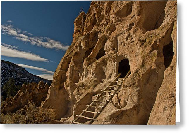 Ancient Pueblo, Reconstructed Ladder Greeting Card by Michel Hersen