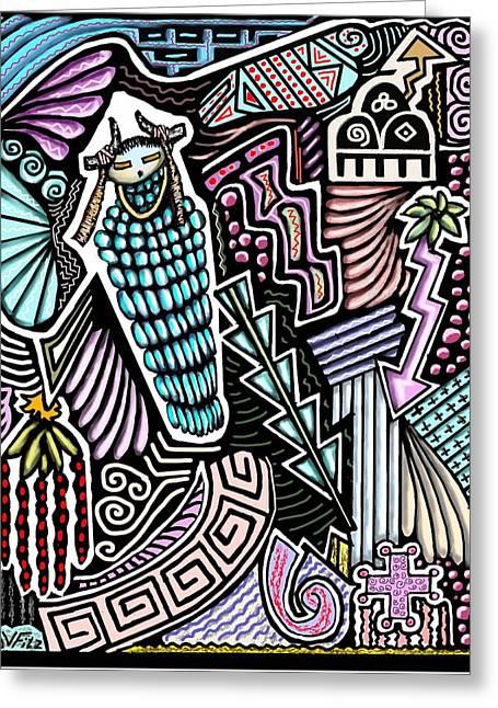 Hopi Drawings Greeting Cards - Ancient Rain Spirit Greeting Card by John  Fitzgerald