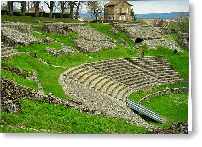 Geobob Greeting Cards - Ancient Roman Amphitheatre in autun saone et loire Burgundy Grance Greeting Card by Robert Ford