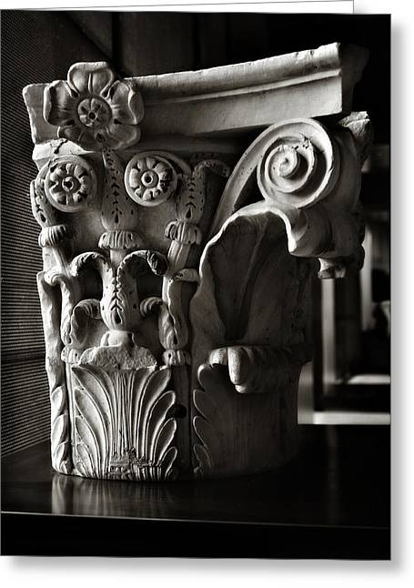 Solidity Greeting Cards - Ancient Roman Column in Black and White Greeting Card by Angela Bonilla