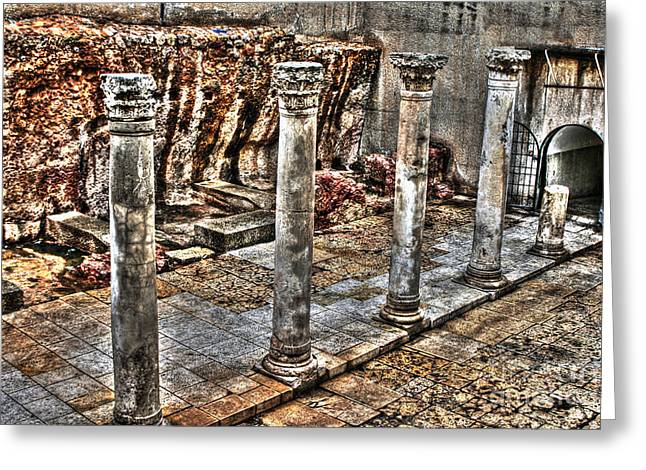 Old Western Photos Mixed Media Greeting Cards - Ancient Roman Columns in Israel Greeting Card by Michael Braham