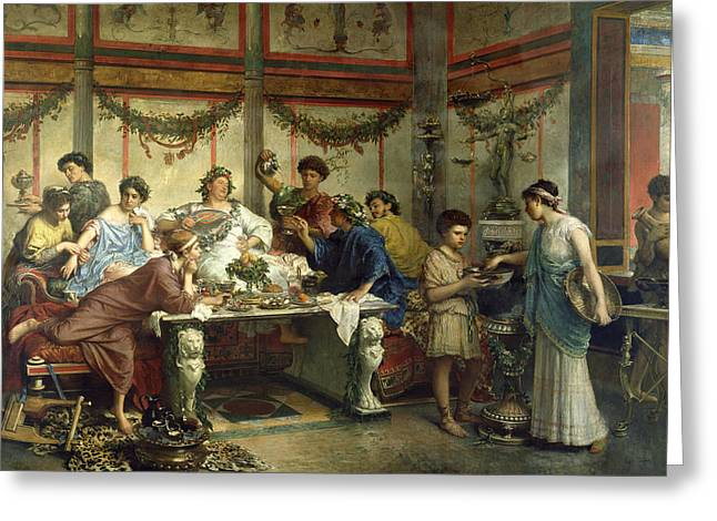 Ancient Roman Feast Greeting Card by Getty Research Institute