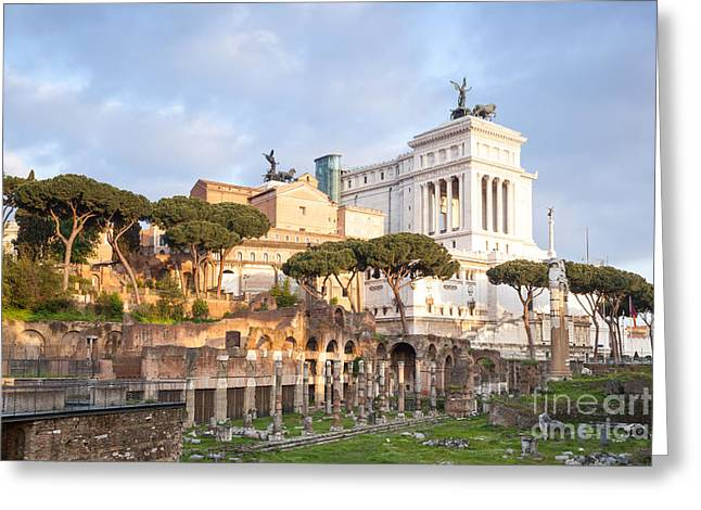Typewriter Greeting Cards - Ancient roman ruins and modern Vittoriano monument Rome Italy Greeting Card by Matteo Colombo