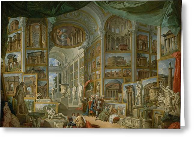 Giovanni Paolo Panini Greeting Cards - Ancient Rome Greeting Card by Giovanni Paolo Panini