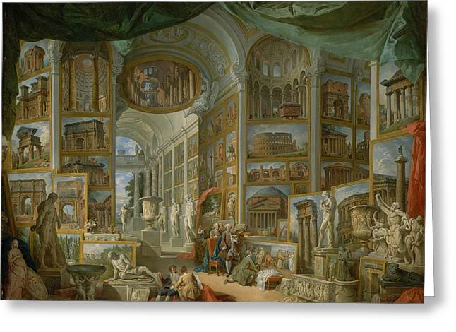 Ancient Rome Greeting Card by Giovanni Paolo Panini