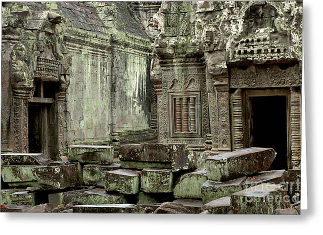 Traveling In Cambodia Greeting Cards - Ancient Ruins Cambodia Greeting Card by Bob Christopher